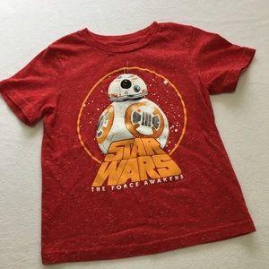 Star Wars size 4 red glow-in-dark BB-8 shirt